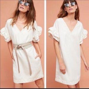 Anthropologie Maeve Linen Cream Flutter Dress M/ L